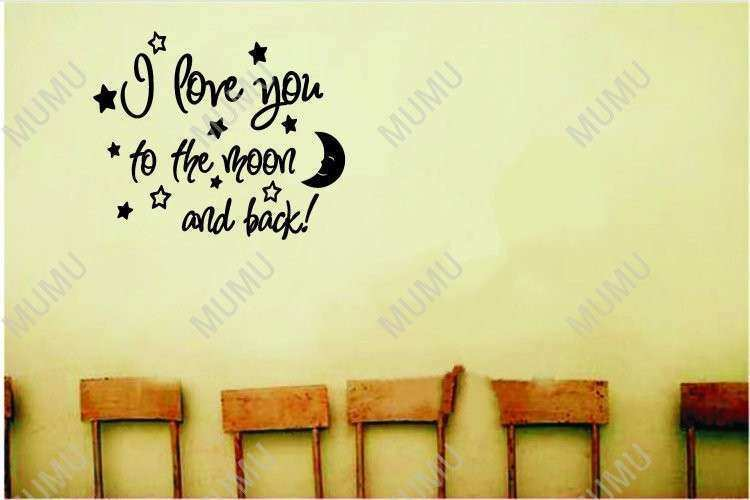 I love you to the moon and back cute baby nursery wall art