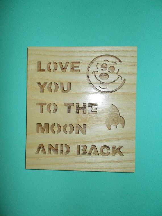 I love you to the moon and back wall hanging wall sign decor