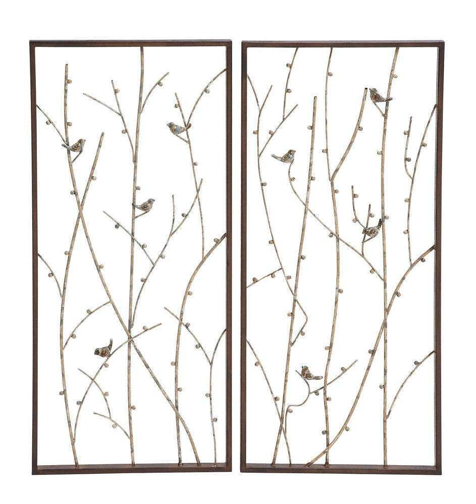 "Pair 32"" WALL Art TREES Birds Twigs Rustic"