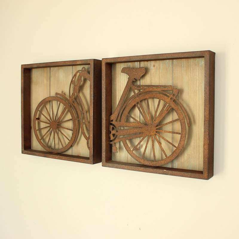 SET OF 2 Bicycle Wall ART Vintage Effect