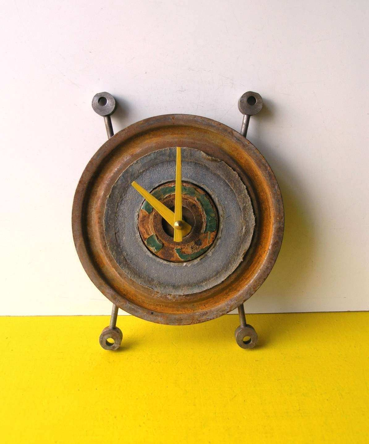 Round Wall Clock Industrial Decor Found Objects Uni Gift