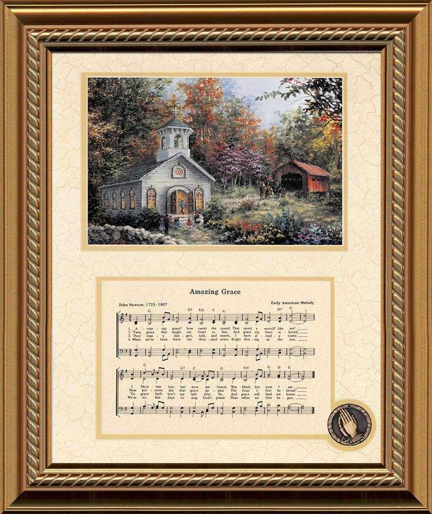 Amazing Grace Song with Church Christian Inspirational Art