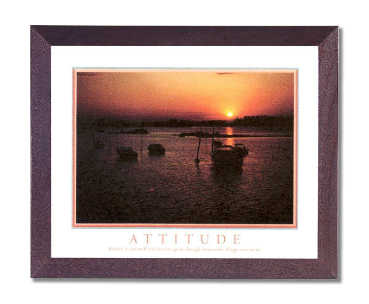 Attitude Motivational Boat Wall Picture Cherry Framed Art