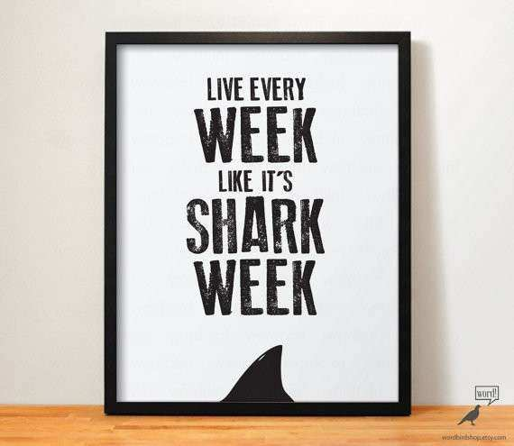 Items similar to Shark Week fice Decor Shark Print