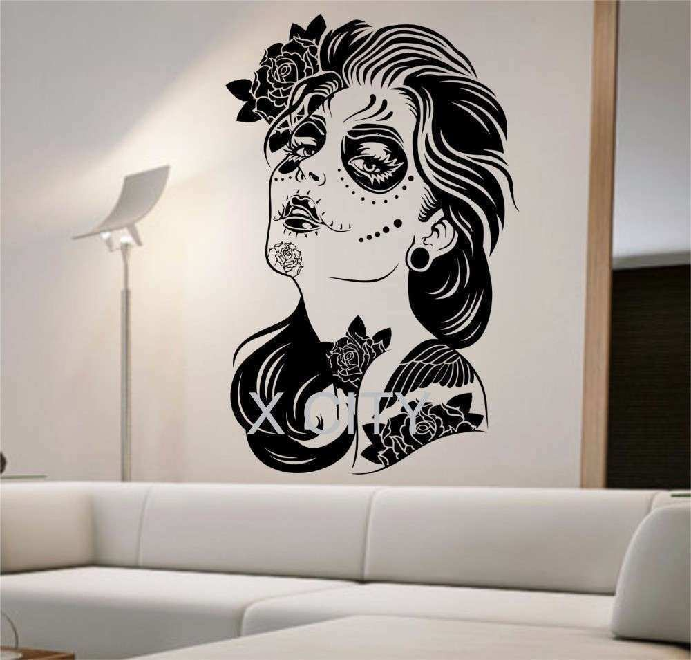 Day of the Dead Wall Decal ROSES GIRL Vinyl Sticker Art