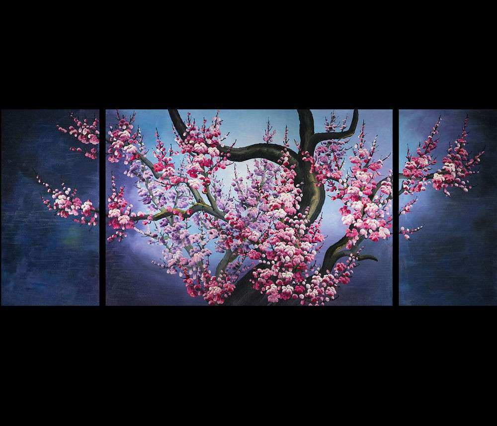 Bedroom Decor Stretched Canvas Japanese Cherry Blossom