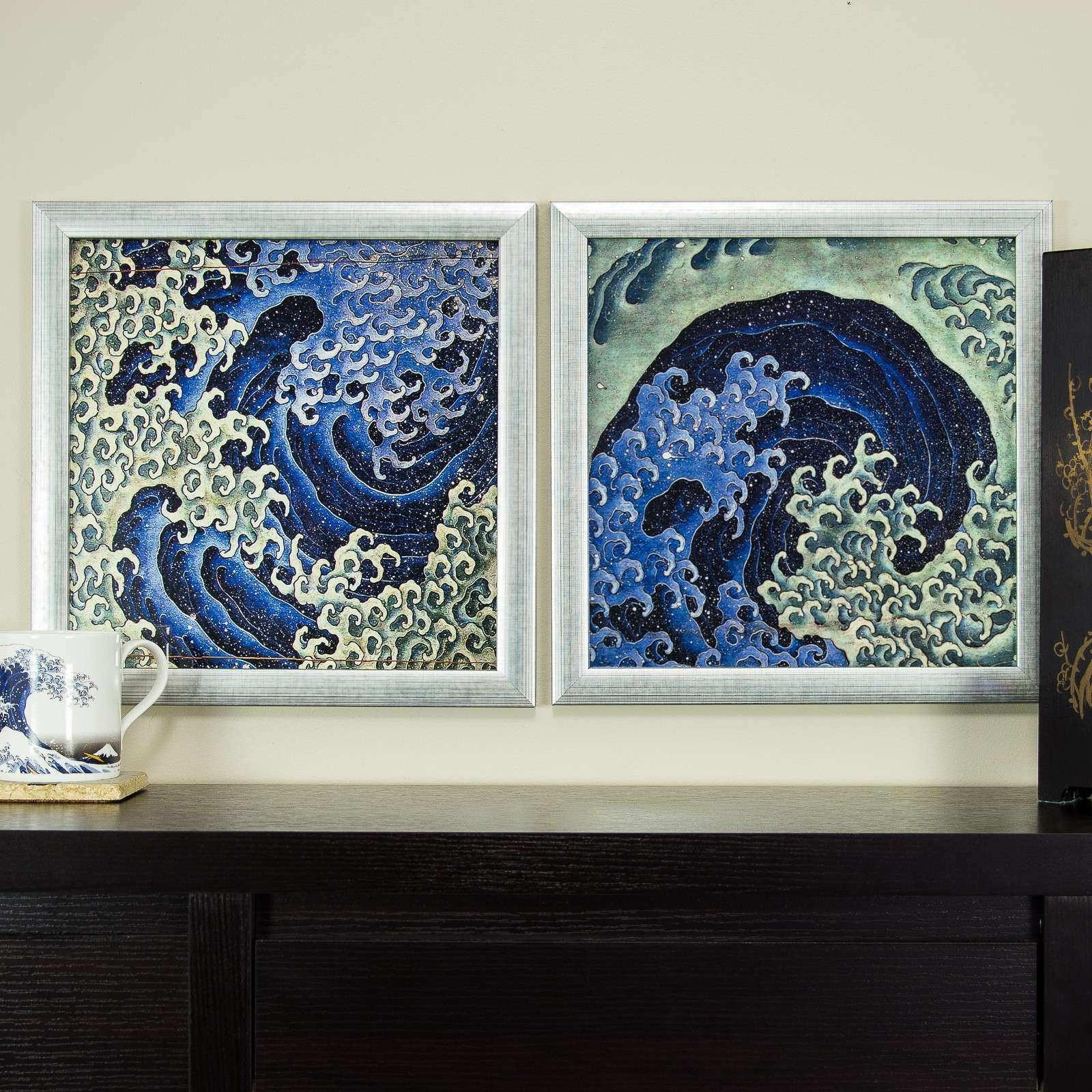 Japanese Wall Decor Elegant Masculine Feminine Wave 12×12 Framed Asian Wall  Art Set