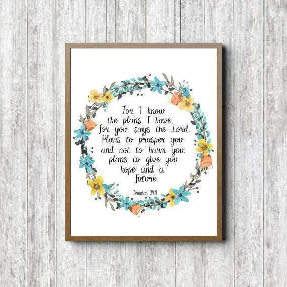 Instant Download Jeremiah 29 11 Print Scripture Wall Art