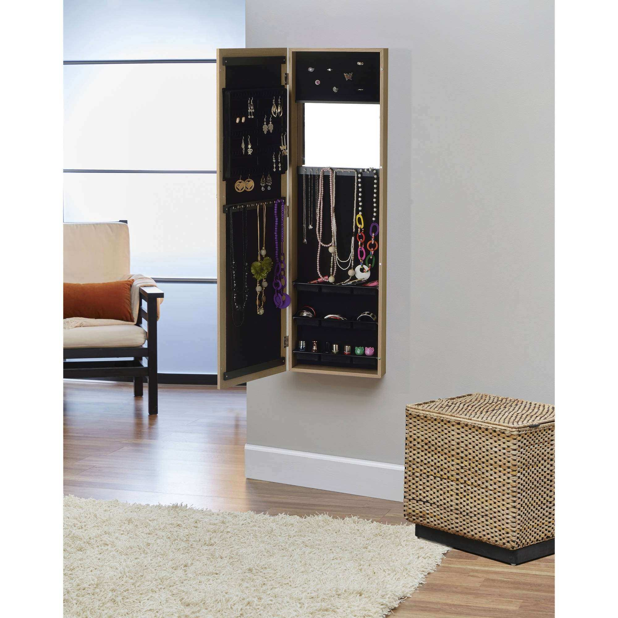 InnerSpace Over the Door Wall Hang Mirrored Jewelry Armoire
