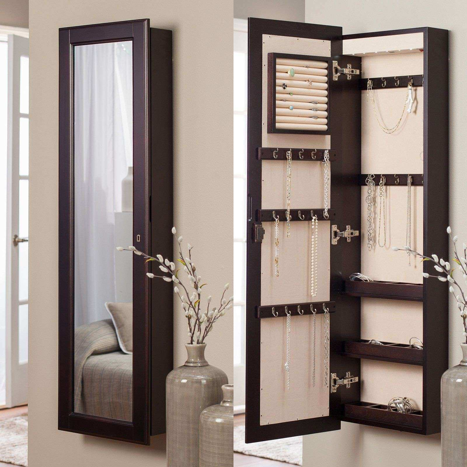 Belham Living Lighted Wall Mount Locking Jewelry Armoire Espresso