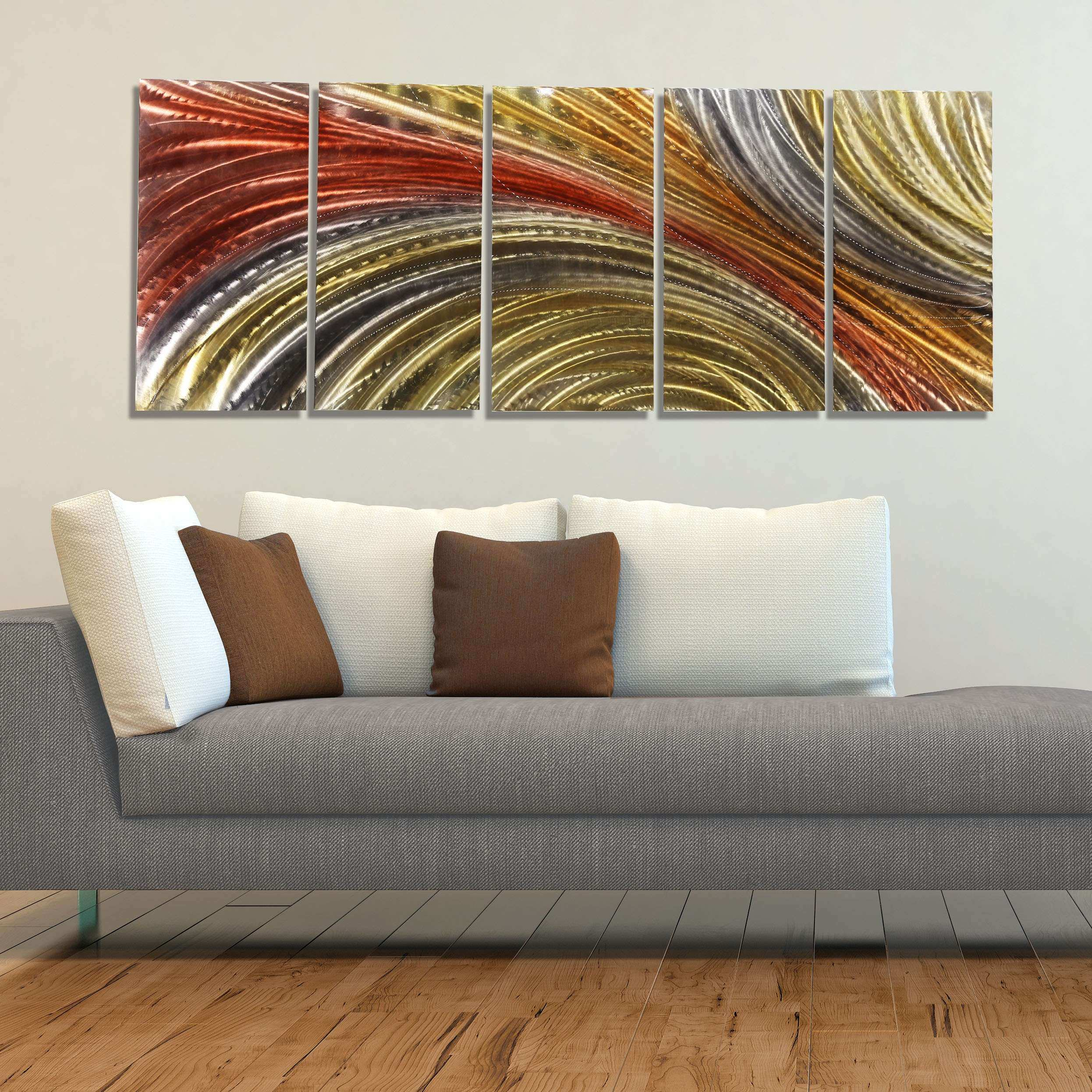 Red Gold & Silver Contemporary Metal Wall Art