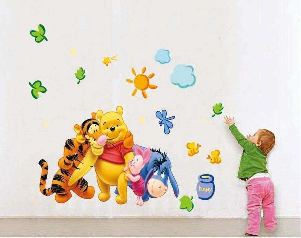 Cartoon Winnie the pooh Wall Sticker Wallpaper For Kids