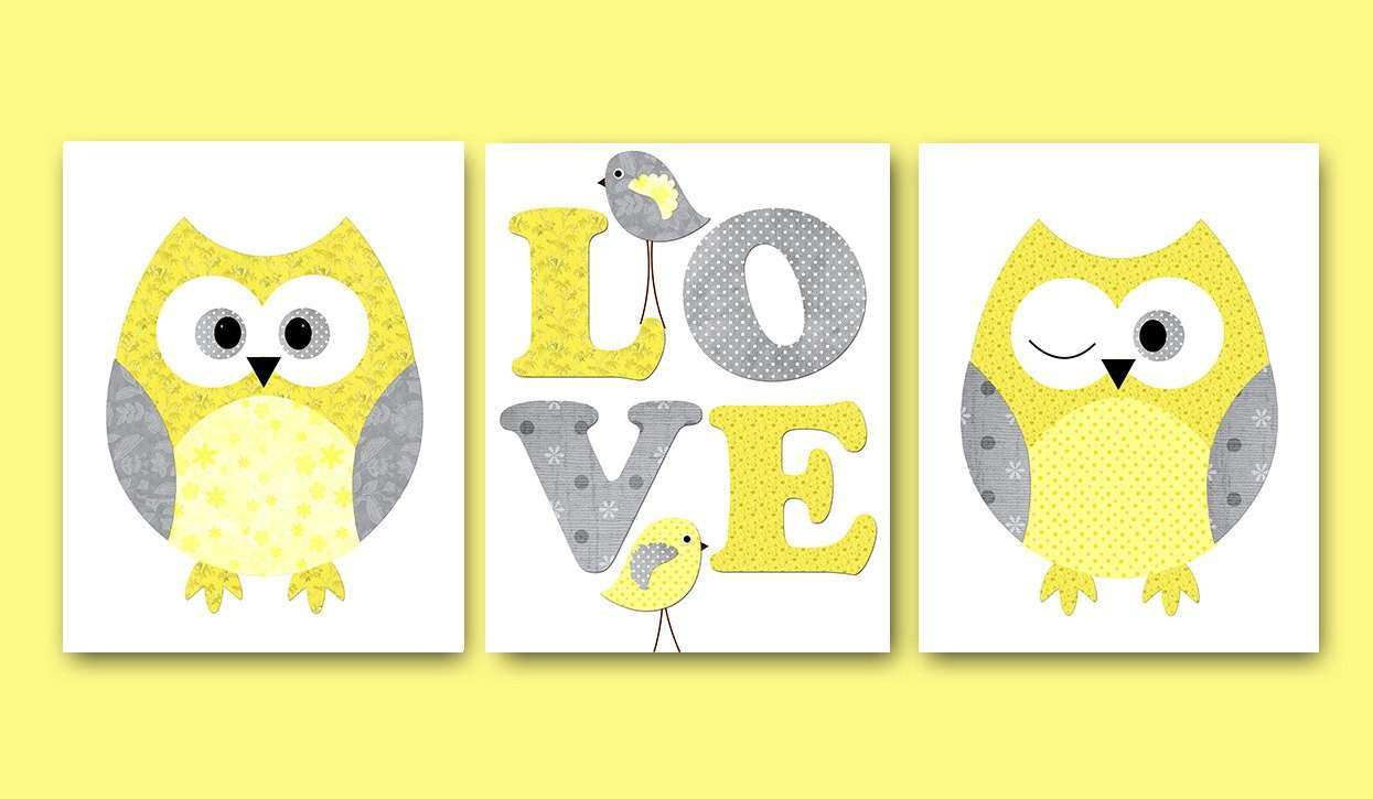 Kids Wall Art Owl Nursery Owl Decor Baby Nursery Decor Baby
