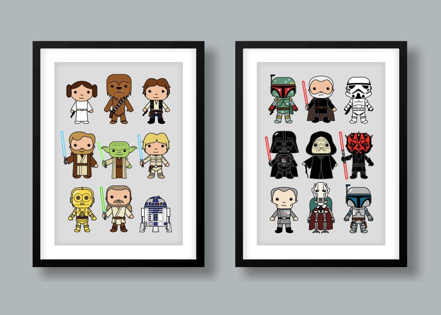 Star Wars inspired wall art kids wall art Star Wars heroes