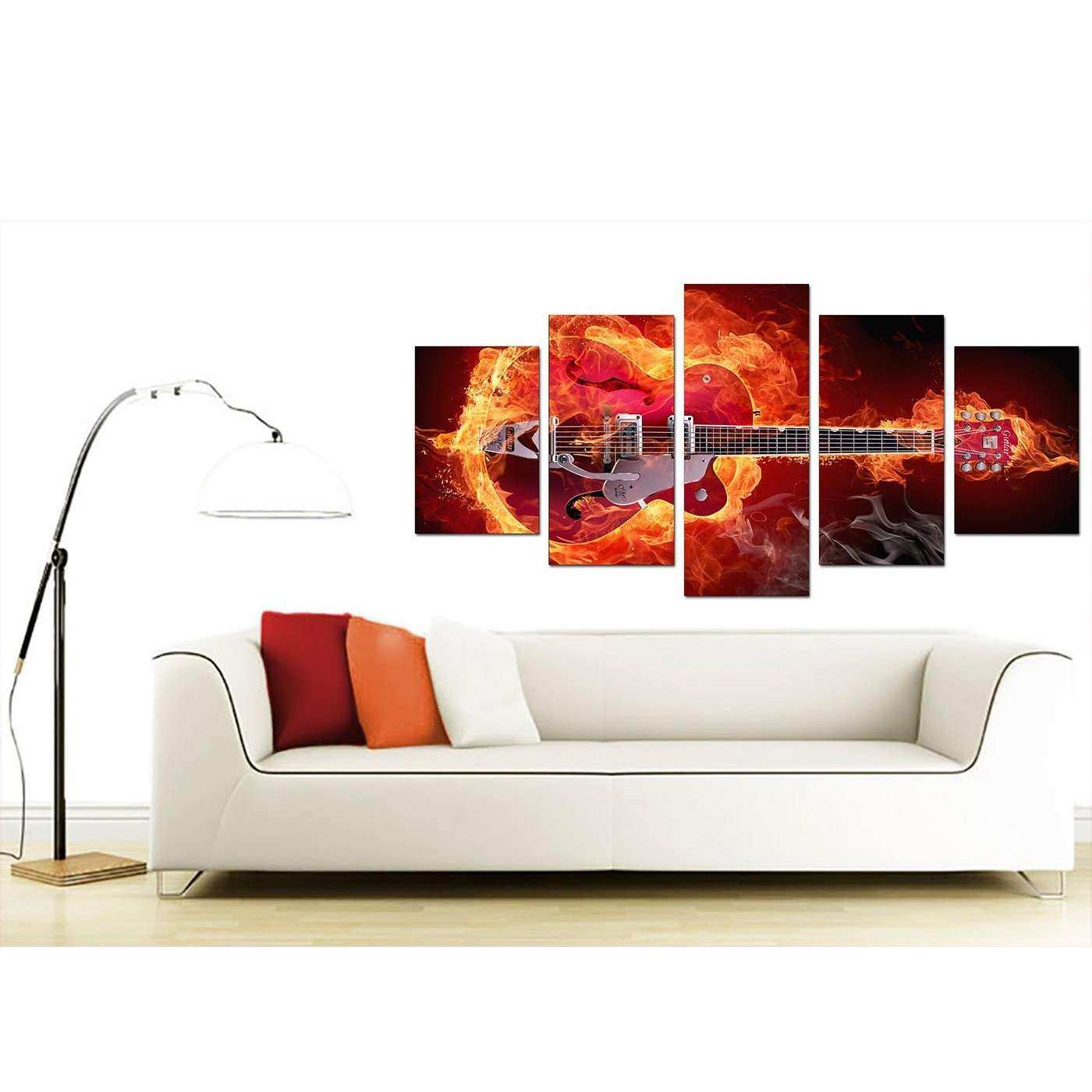 Extra Guitar on Fire Canvas Five Piece in Red