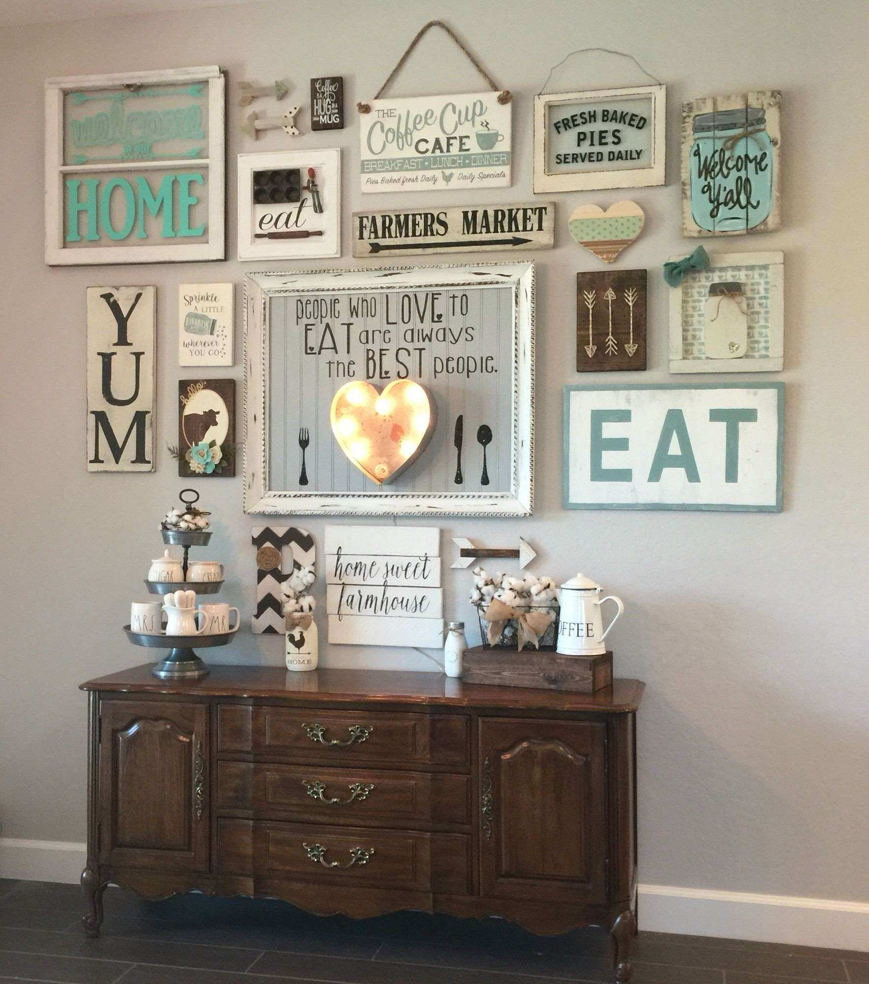 My gallery wall in our kitchen I m colewifey on IG