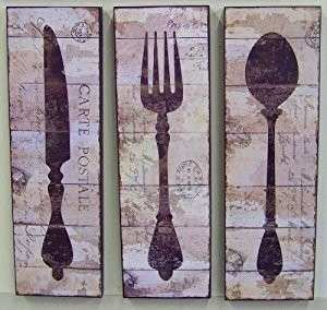 Amazon Knife Fork Spoon Kitchen Wall Art Distressed