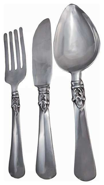 Cast Aluminum Knife Fork and Spoon Wall Art 23 Inch
