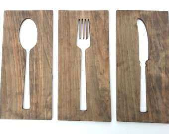 Kitchen Art Fork Spoon Knife Wooden Wall Plaques by