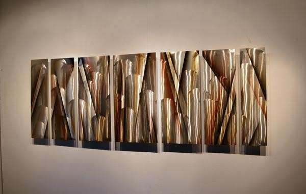 """Vanishing Point"" 66""x24"" Earthtone Brown Modern"