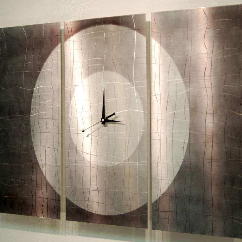 Metal Abstract Modern Steel Silver Wall Art Clock