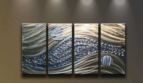 Large Abstract Metal Wall Art Inspirational Metal Wall Art Abstract Modern Sculpture 4 Panels