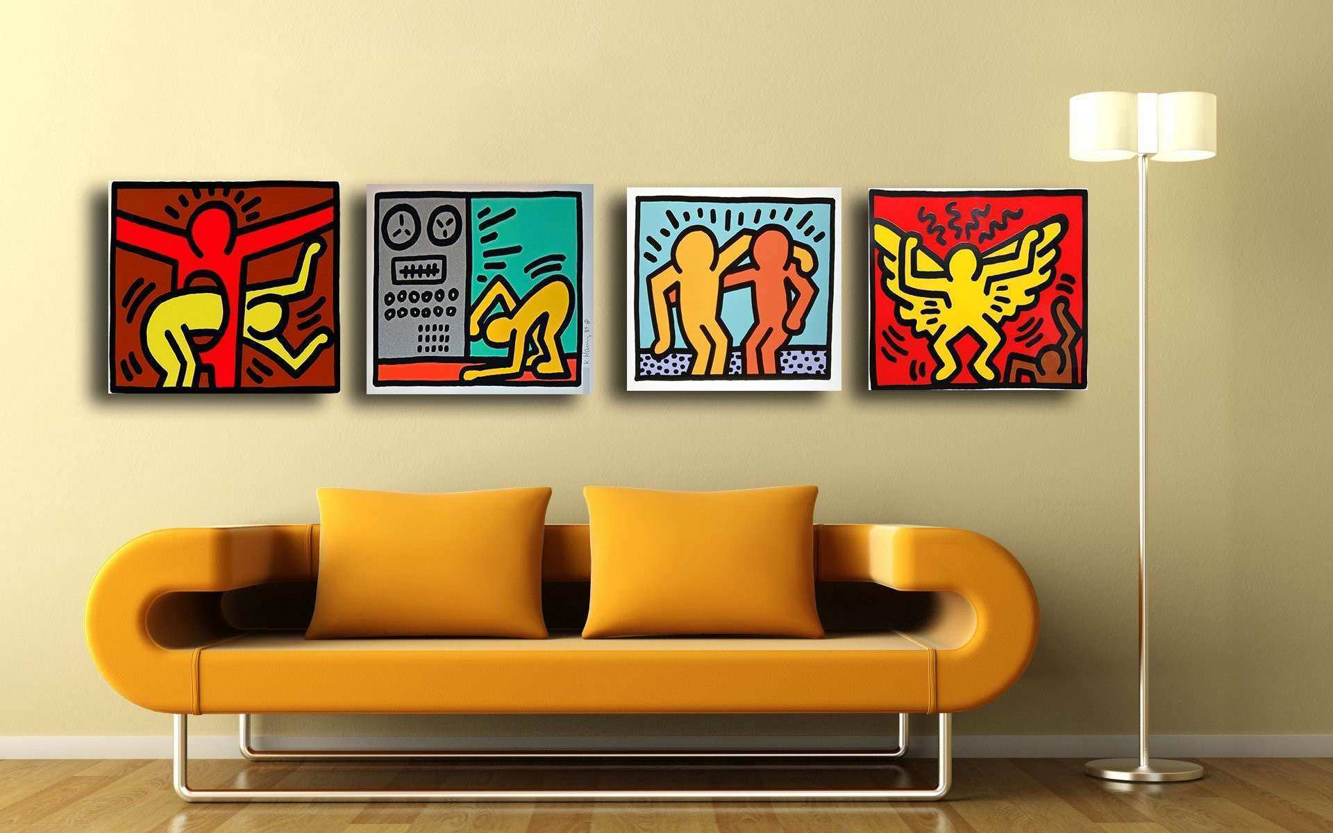 Set 4 Keith Haring Paintings Gallery Wrapped Art Print 12x17