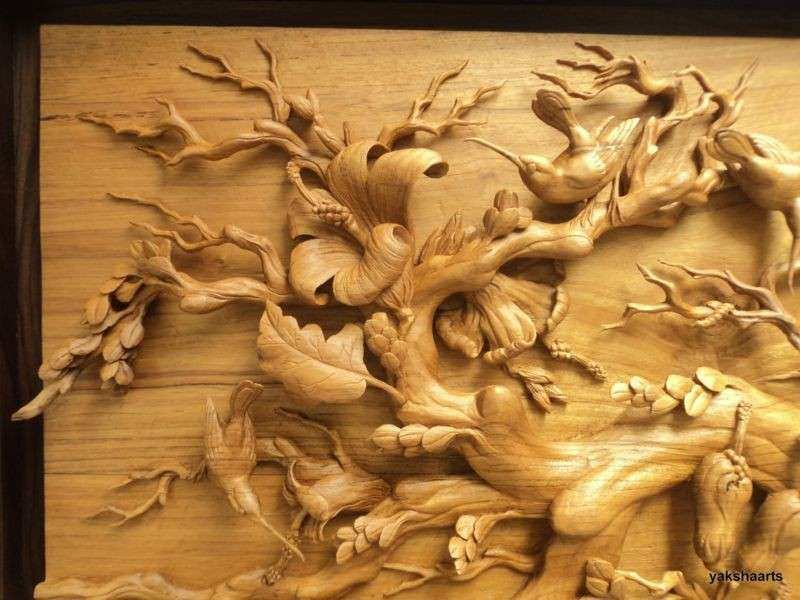 Wall Art Hand Carved Deep Relief Wood Carving