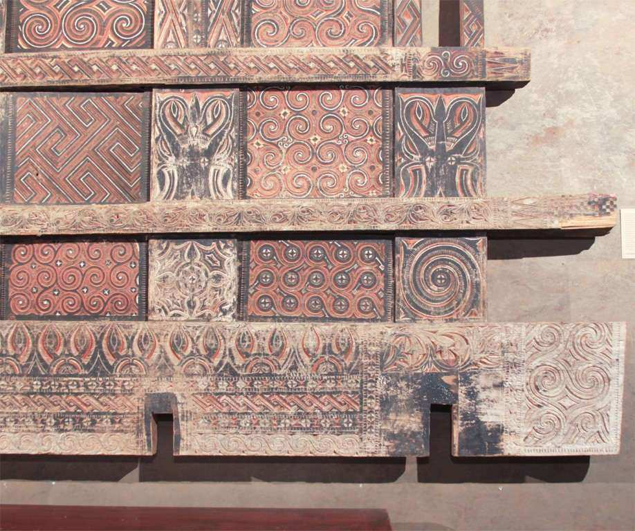 Very Indonesian Carved and Painted Wood Wall Panel