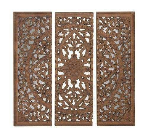 48x48 Carved Wood Wall Art Mirror Panel African