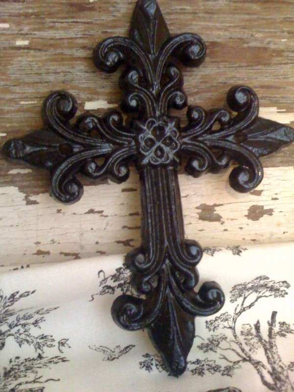 Large Cross Wall Decor Elegant Metal Wrought Iron