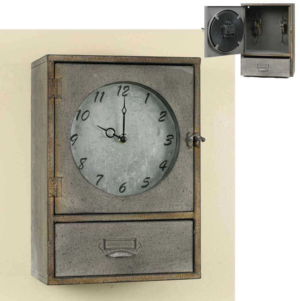 Vintage Industrial Style Metal Wall Clock Cabinet with