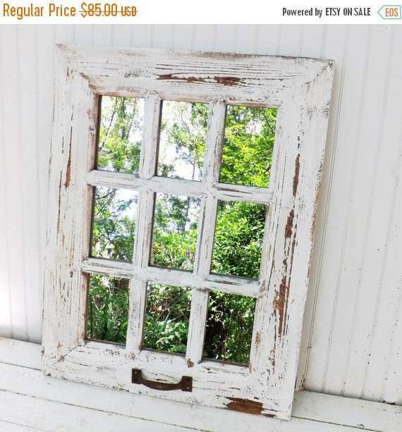 FALL SALE Rustic Farmhouse Window Mirror Window by