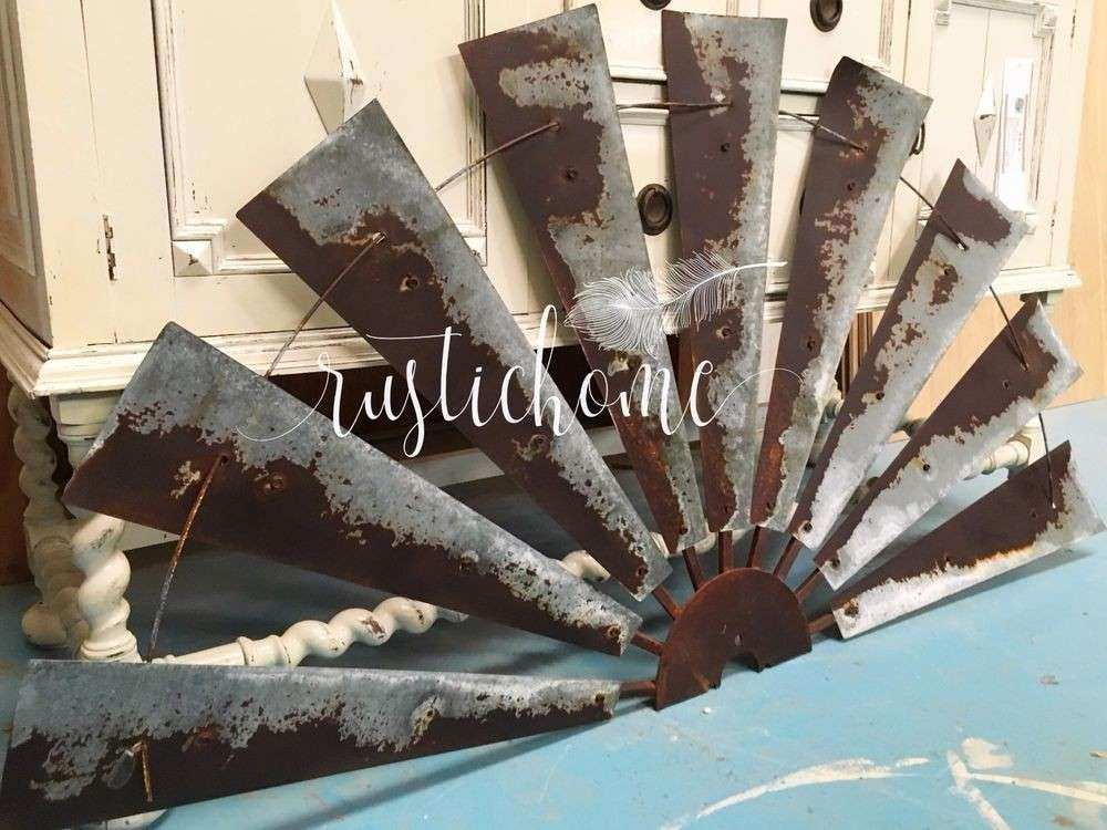 Large Farmhouse Wall Decor New 60u0026quot; Half Windmill Wall Decor Rustic Wall  ...