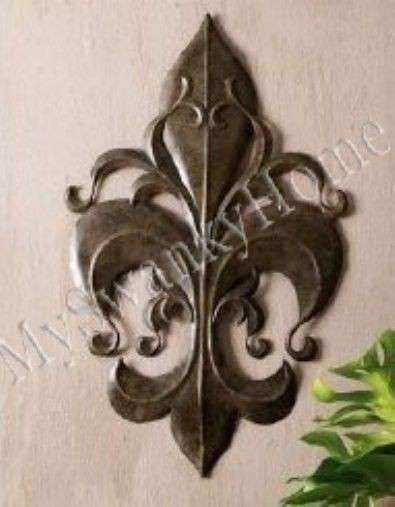 Fleur De Lis Metal Wall Art Plaque Iron Old World