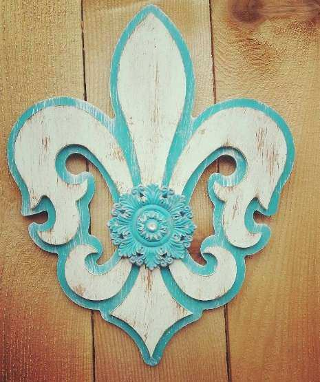 Large Fleur De Lis Wall Decor Inspirational Hand Painted Home With Embellishment