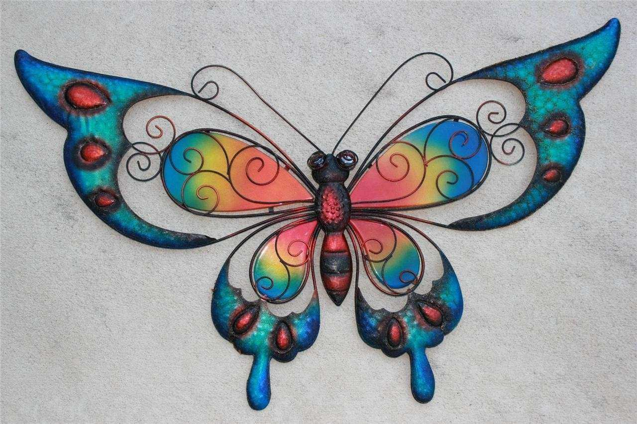 New X Blue Metal Stained Glass Butterfly Wall