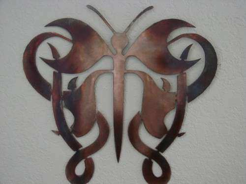 Large Metal butterfly Wall Art Beautiful butterfly Tribal Copper and torch Patina Metal Wall Art