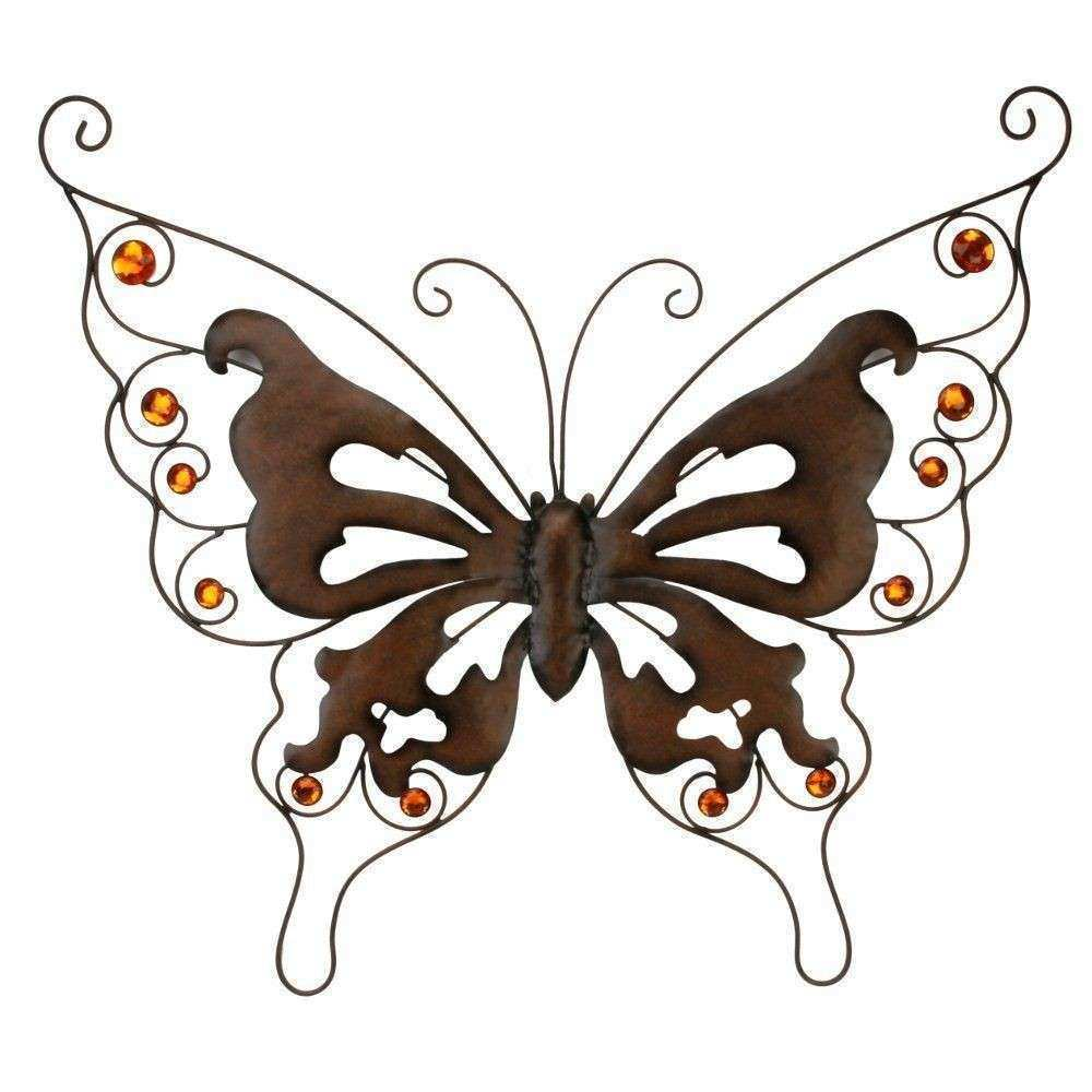 Copper Jewel Stones Rustic Effect Metal Butterfly