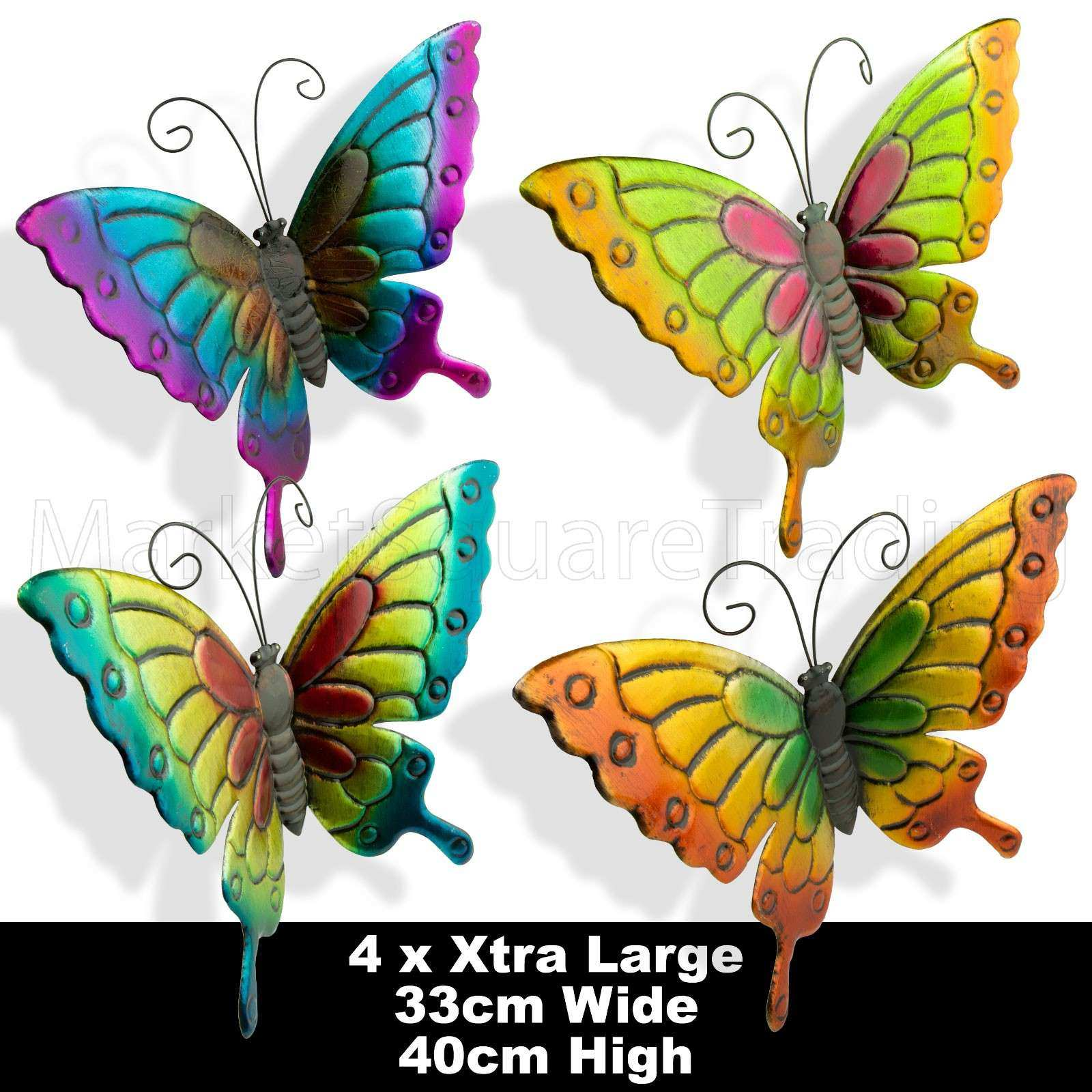 BUTTERFLIES X 4pcs EXTRA LARGE COLOURED OUTDOOR METAL
