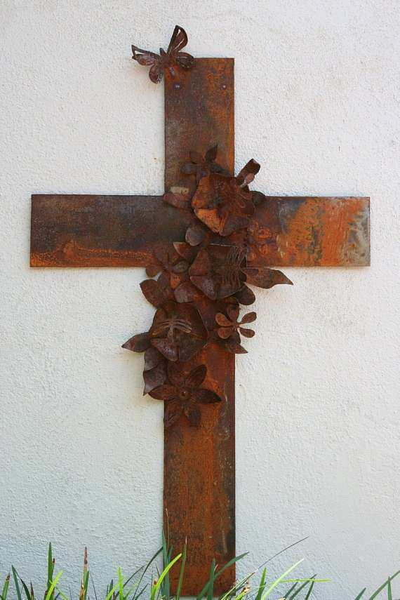 Metal Cross Wall Art with Hibiscus Flowers and by