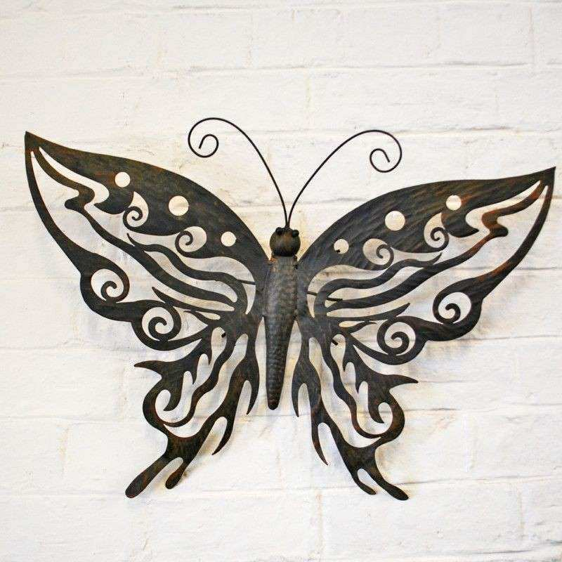 DECORATIVE METAL BUTTERFLY GARDEN WALL ART DESIGN BLACK