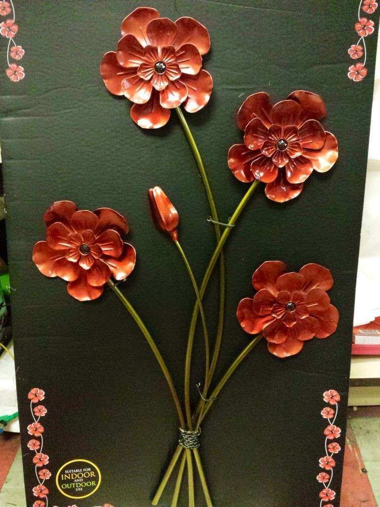 ART POPPY POPPIES red metal large wall decor spray bunch