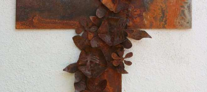 Large Metal Flower Wall Decor Unique Metal Cross Wall Art with Hibiscus Flowers and butterfly