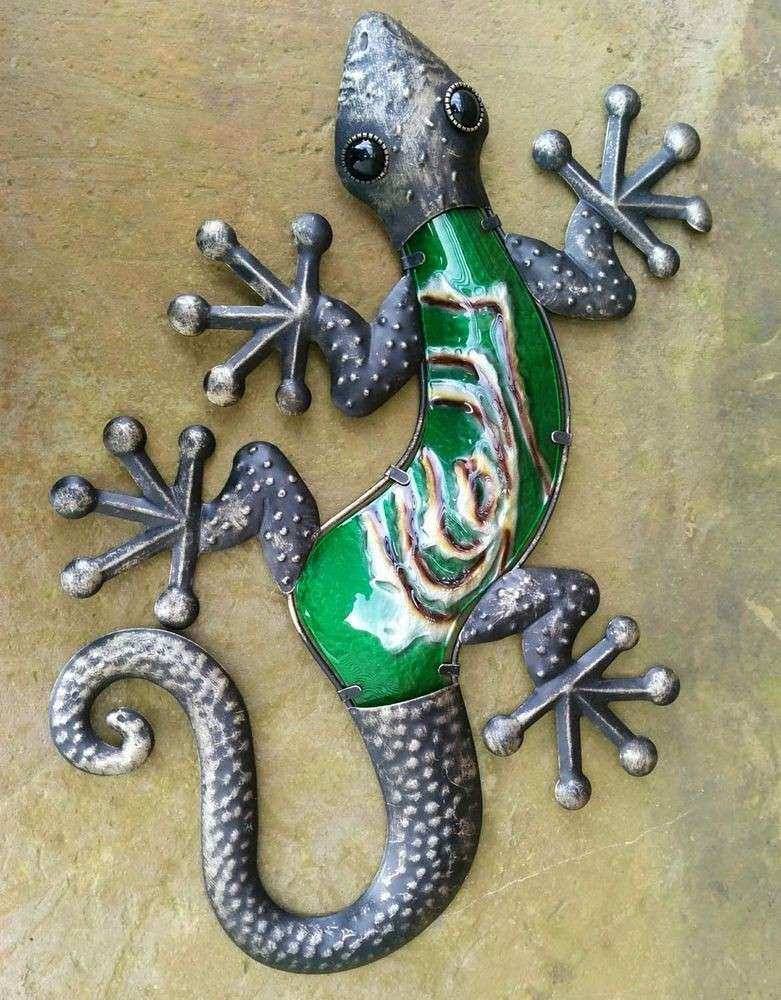 "Large Metal Gecko Wall Art Elegant Handcrafted Metal 19"" Gecko Bronze Finish Wall Art Home"