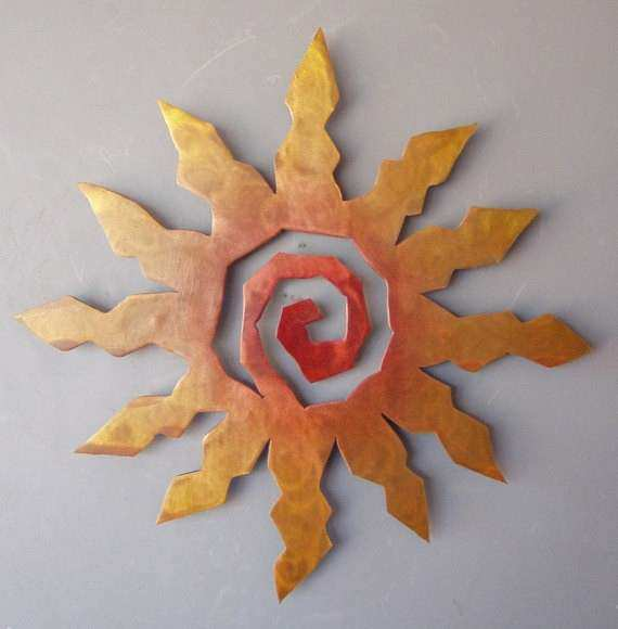 Sun Burst Metal Wall Art Rust with Red and Yellow Accents