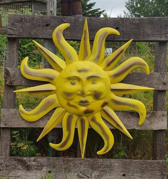 Contemporary Outdoor Metal Sun Wall Art Pattern - Wall Art ...