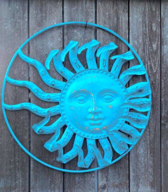 Turquoise Blue Celestial Hanging Sun Face Wall Decor