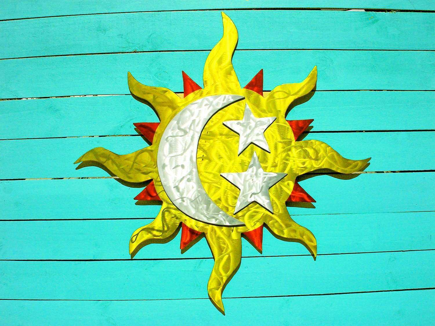 Large Outdoor Sun Wall Art New Sun Moon Stars Art Outdoor Metal Wall ...