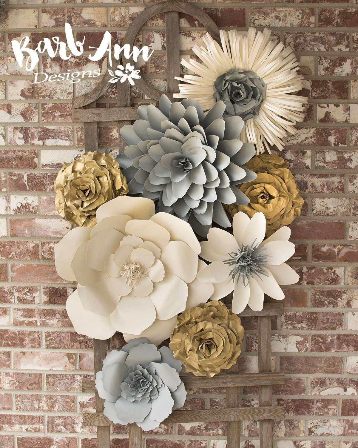 Large Paper Flowers Wall Decor Elegant Paper Flower Wall Backdrop Barb Ann Designs